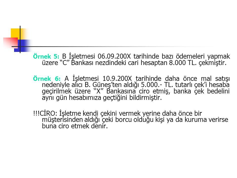 Örnek 5: B İşletmesi 06.09.200X tarihinde bazı ödemeleri yapmak üzere C Bankası nezdindeki cari hesaptan 8.000 TL. çekmiştir.