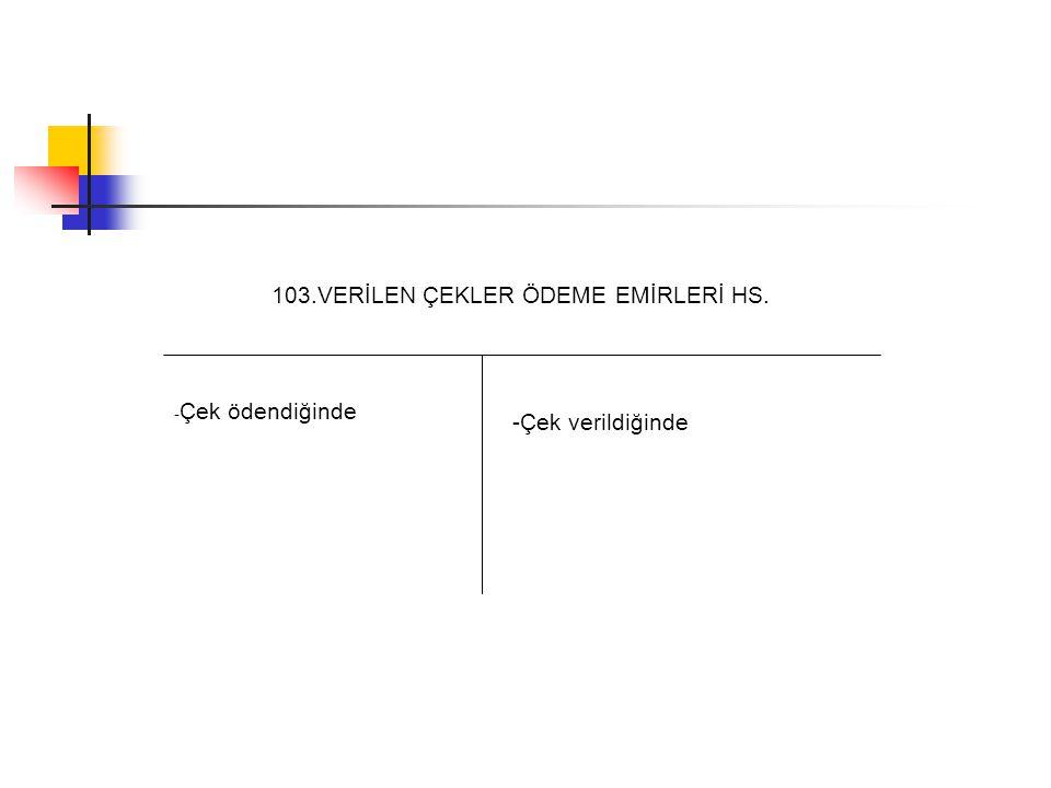 103.VERİLEN ÇEKLER ÖDEME EMİRLERİ HS.