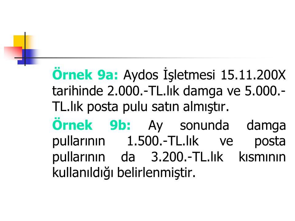 Örnek 9a: Aydos İşletmesi 15. 11. 200X tarihinde 2. 000. -TL
