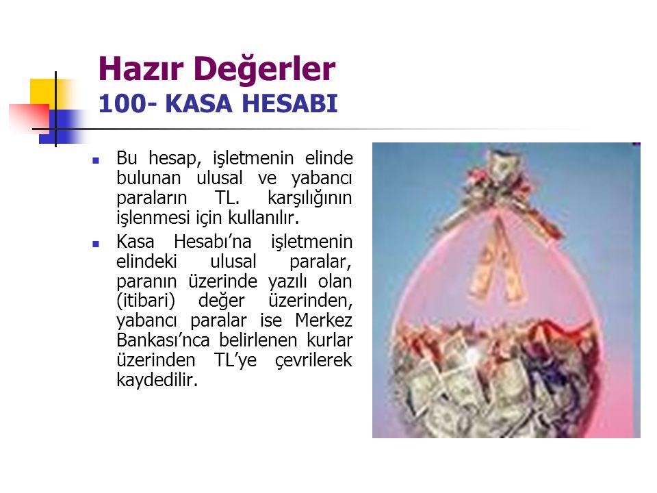 Hazır Değerler 100- KASA HESABI