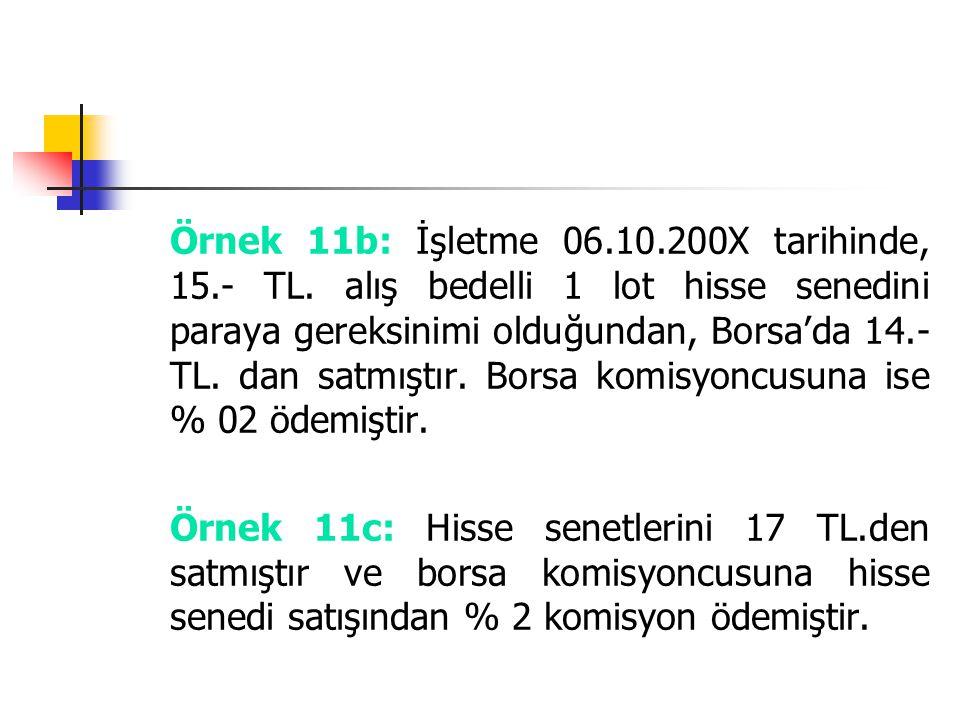 Örnek 11b: İşletme 06. 10. 200X tarihinde, 15. - TL