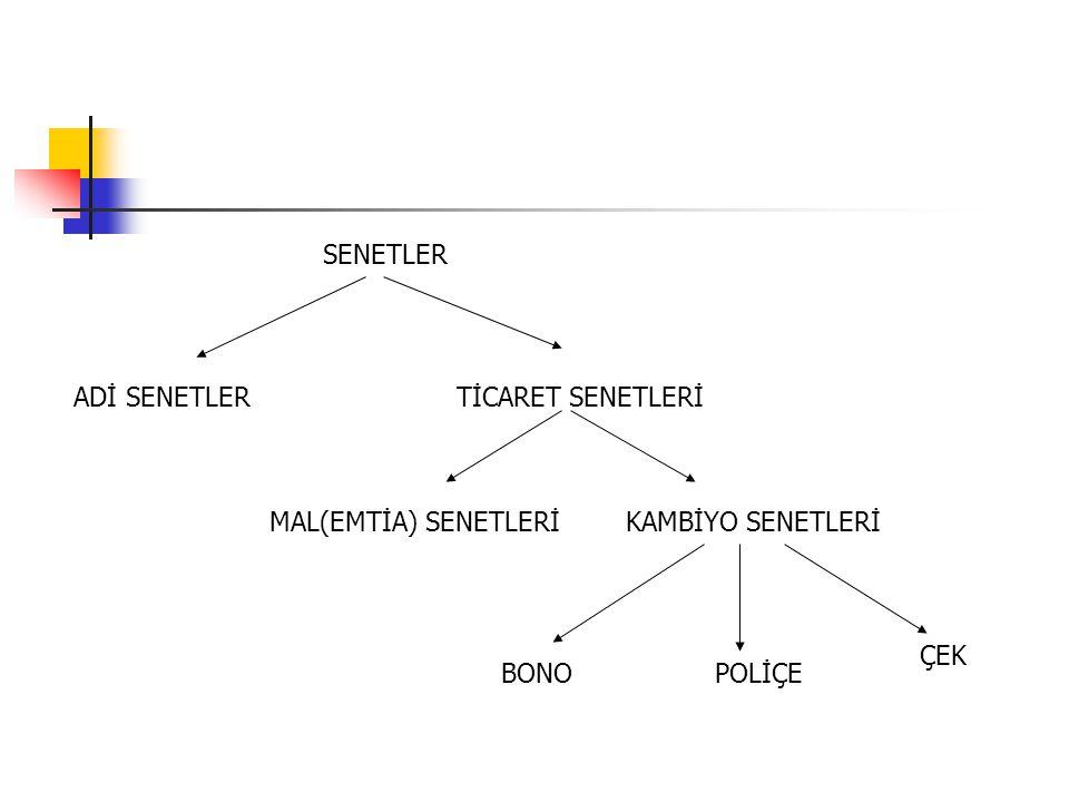 SENETLER ADİ SENETLER TİCARET SENETLERİ MAL(EMTİA) SENETLERİ KAMBİYO SENETLERİ ÇEK BONO POLİÇE