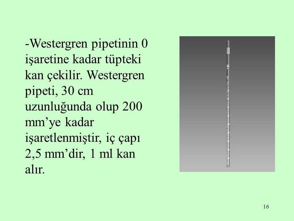 -Westergren pipetinin 0 işaretine kadar tüpteki kan çekilir