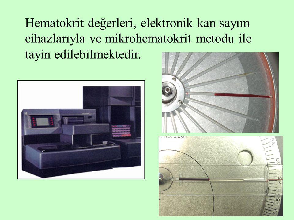 Hematokrit değerleri, elektronik kan sayım cihazlarıyla ve mikrohematokrit metodu ile tayin edilebilmektedir.