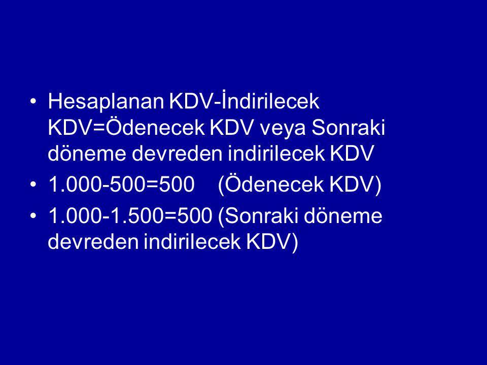 Hesaplanan KDV-İndirilecek KDV=Ödenecek KDV veya Sonraki döneme devreden indirilecek KDV