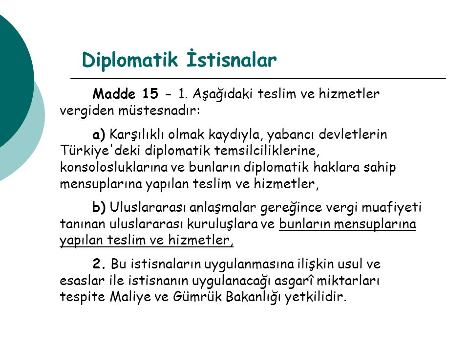 Diplomatik İstisnalar