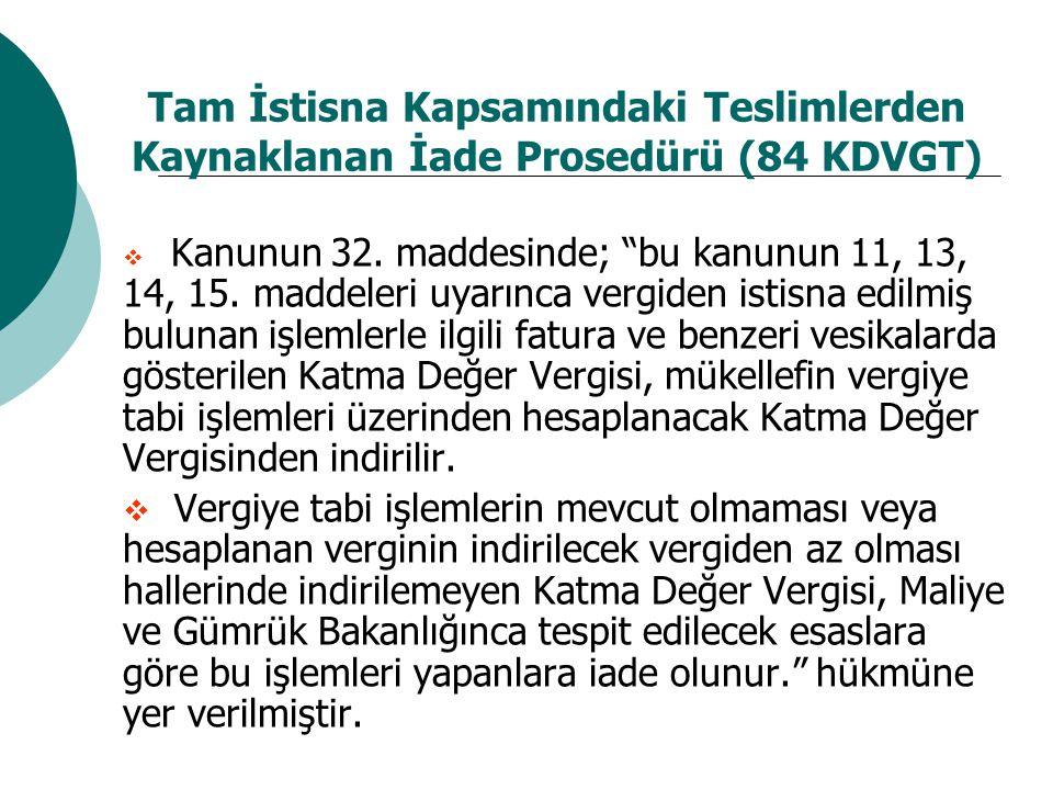 Tam İstisna Kapsamındaki Teslimlerden Kaynaklanan İade Prosedürü (84 KDVGT)