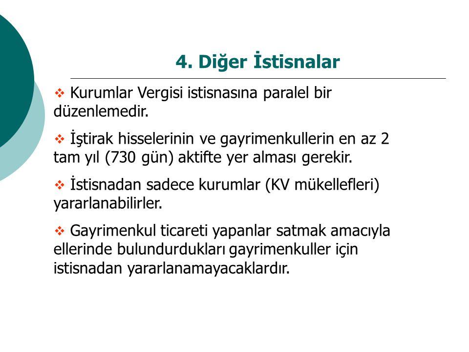 4. Diğer İstisnalar Kurumlar Vergisi istisnasına paralel bir düzenlemedir.