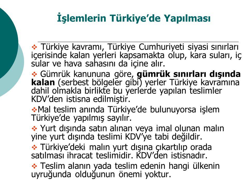 İşlemlerin Türkiye'de Yapılması