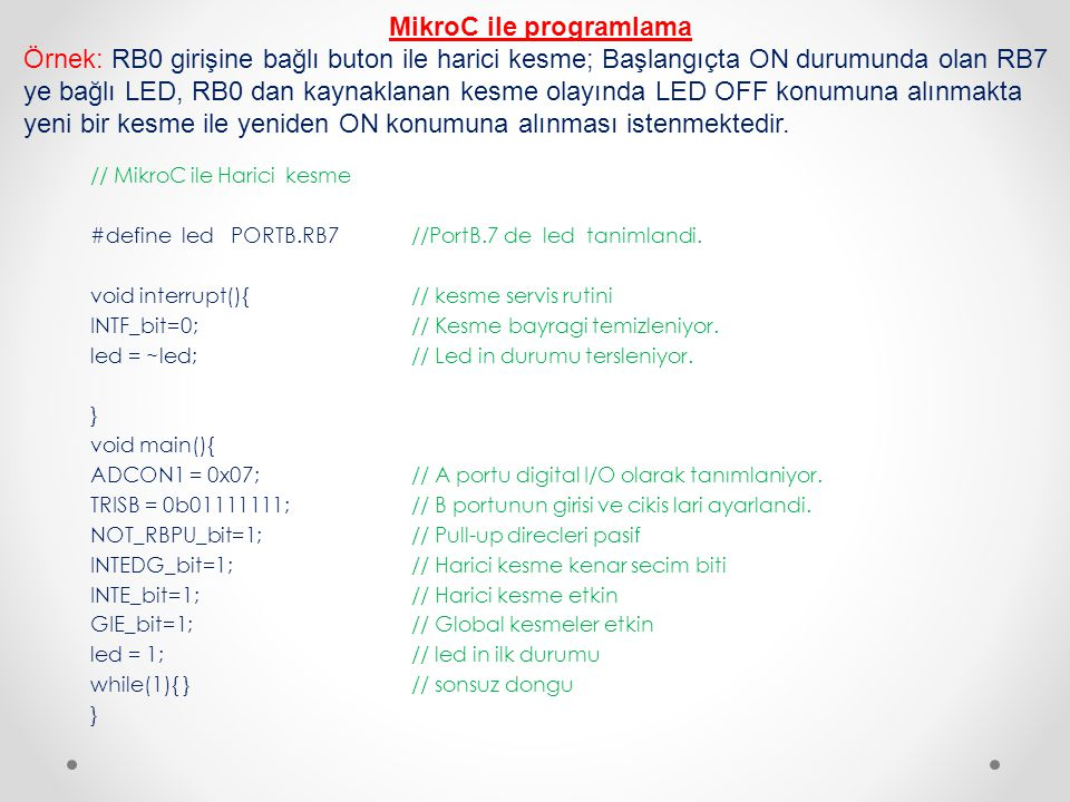 MikroC ile programlama