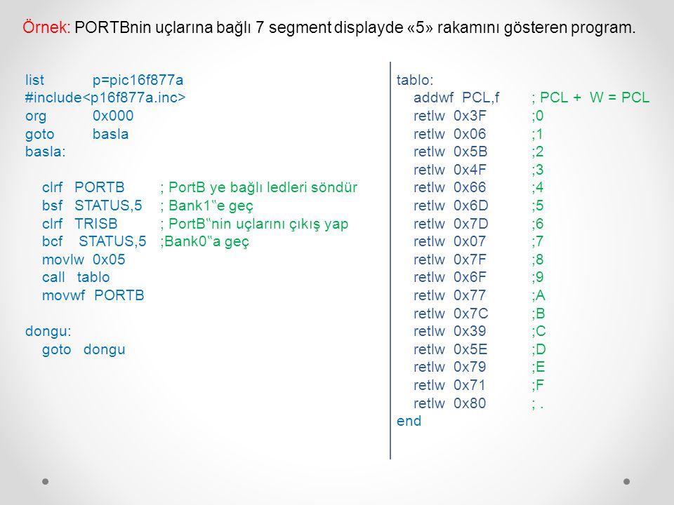 Örnek: PORTBnin uçlarına bağlı 7 segment displayde «5» rakamını gösteren program.