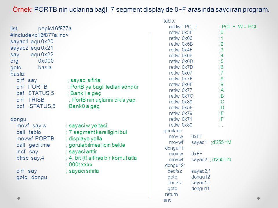 Örnek: PORTB nin uçlarına bağlı 7 segment display de 0~F arasında saydıran program.