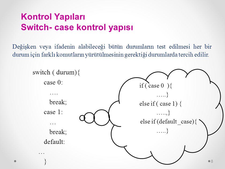 Kontrol Yapıları Switch- case kontrol yapısı
