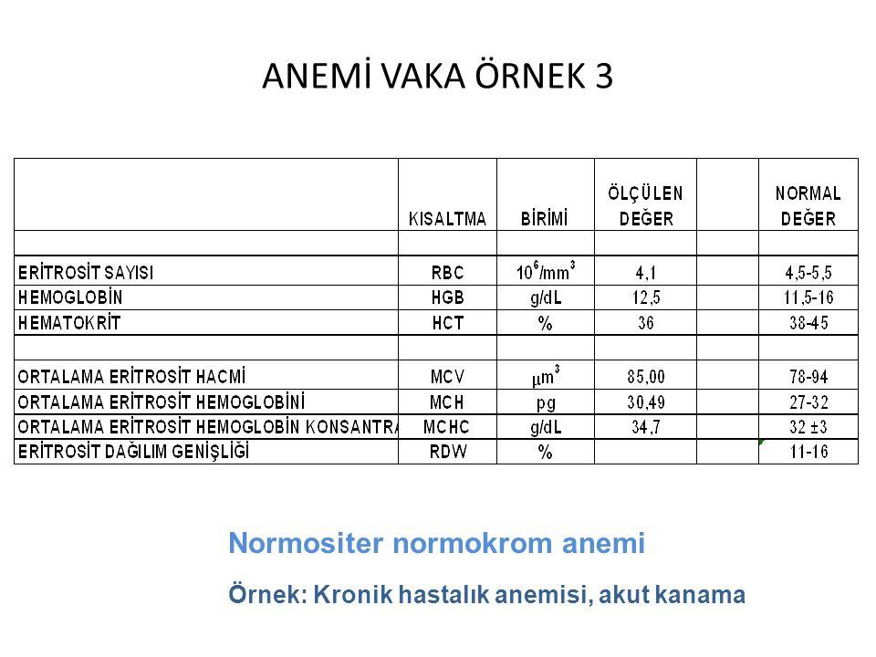 ANEMİ VAKA ÖRNEK 3 Normositer normokrom anemi