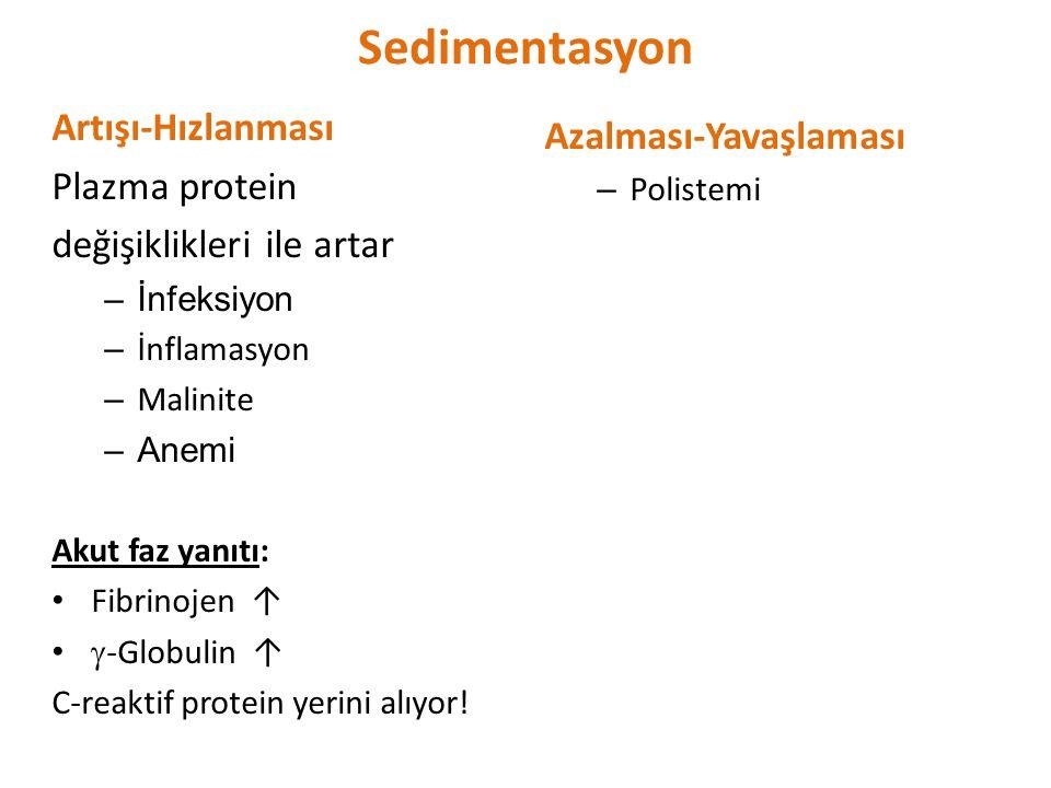 Sedimentasyon Artışı-Hızlanması Azalması-Yavaşlaması Plazma protein