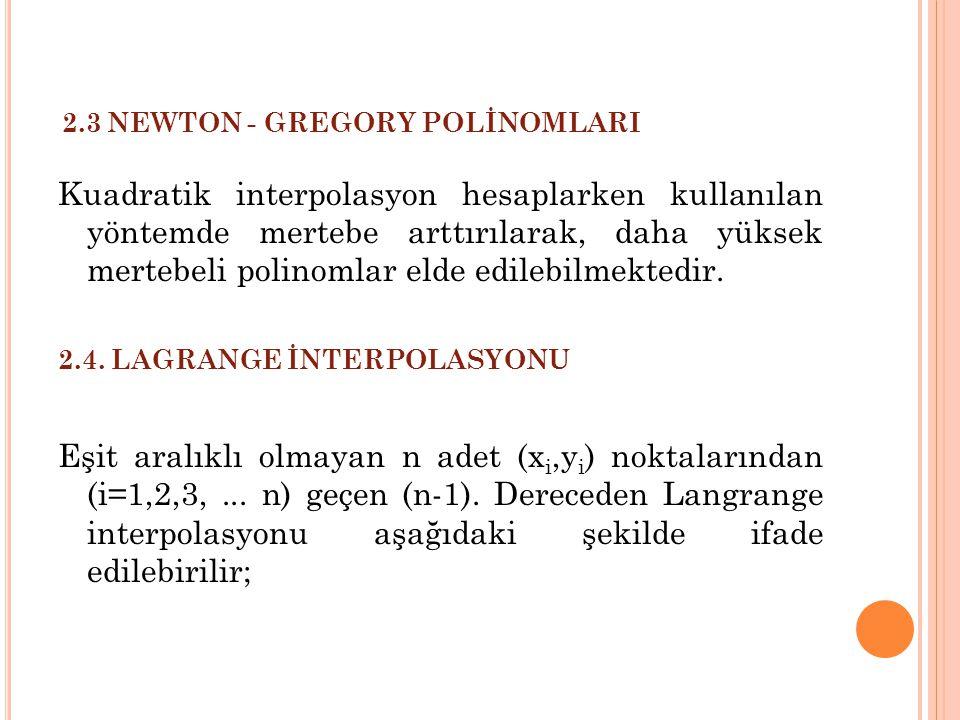 2.3 NEWTON - GREGORY POLİNOMLARI