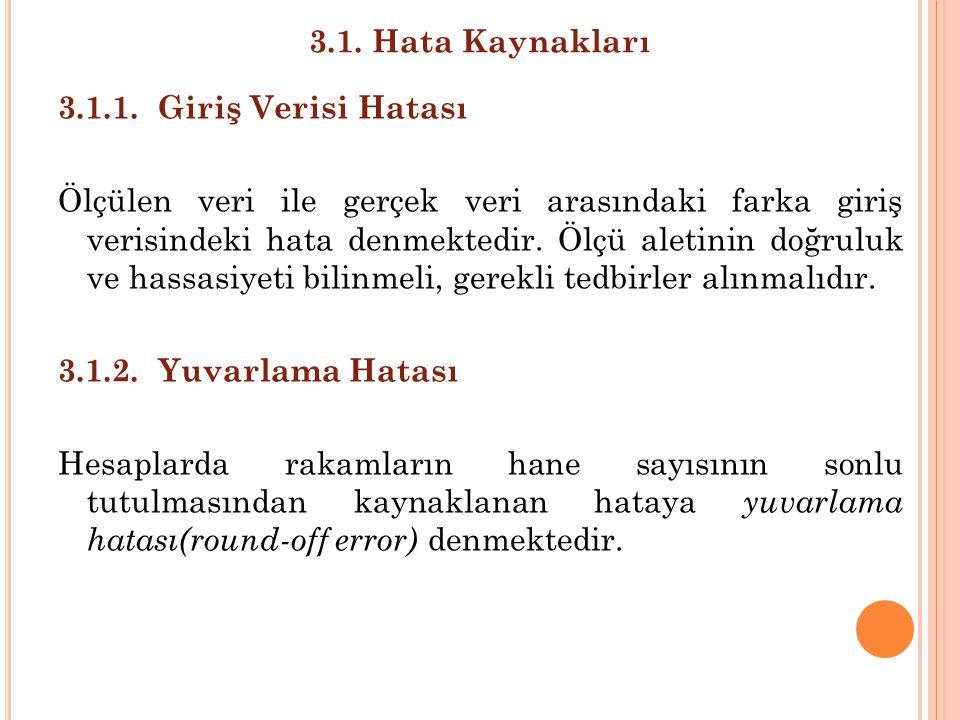 3.1. Hata Kaynakları 3.1.1. Giriş Verisi Hatası