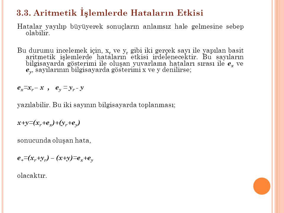 3.3. Aritmetik İşlemlerde Hataların Etkisi