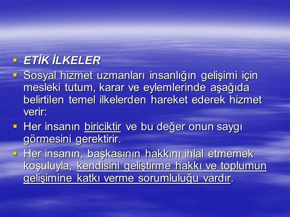 ETİK İLKELER