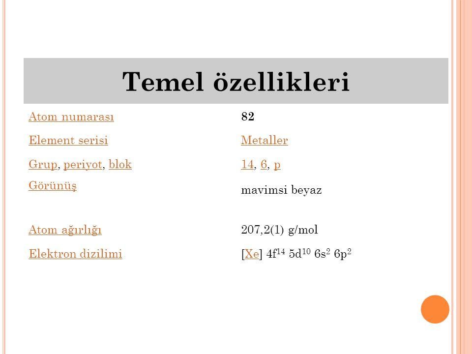 Temel özellikleri Atom numarası 82 Element serisi Metaller