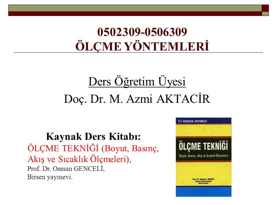 0502309-0506309 ÖLÇME YÖNTEMLERİ Ders Öğretim Üyesi