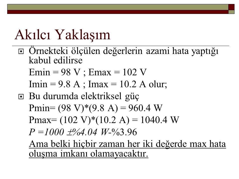 Akılcı Yaklaşım Örnekteki ölçülen değerlerin azami hata yaptığı kabul edilirse. Emin = 98 V ; Emax = 102 V.