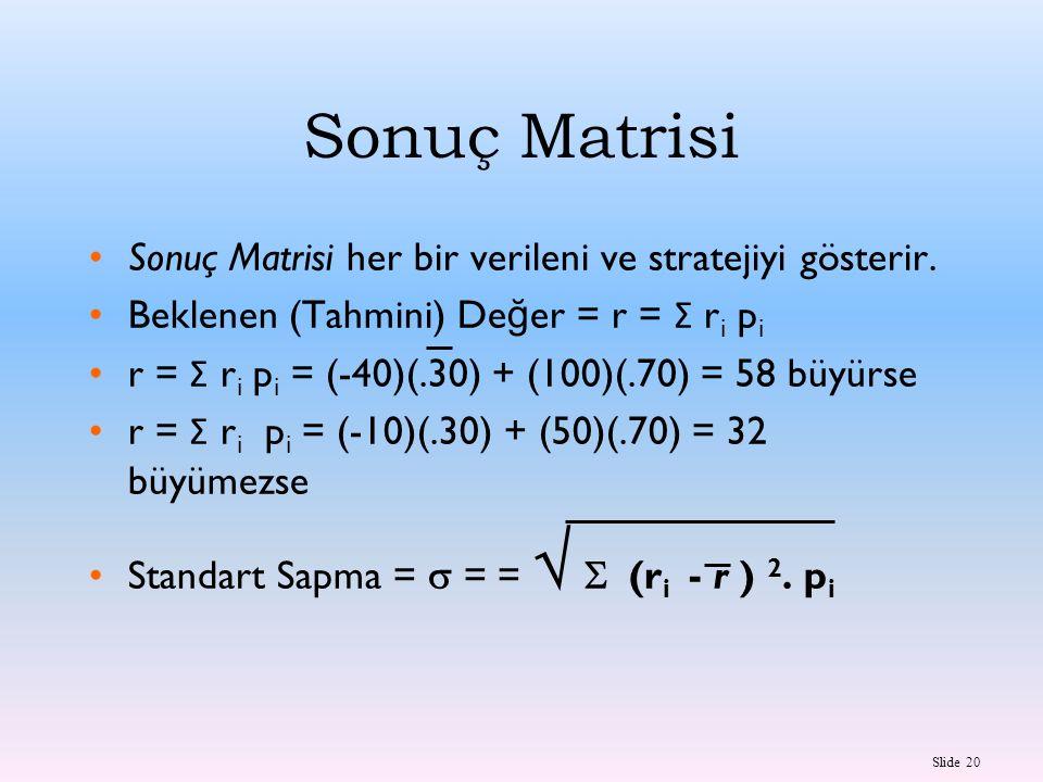 Sonuç Matrisi Sonuç Matrisi her bir verileni ve stratejiyi gösterir.