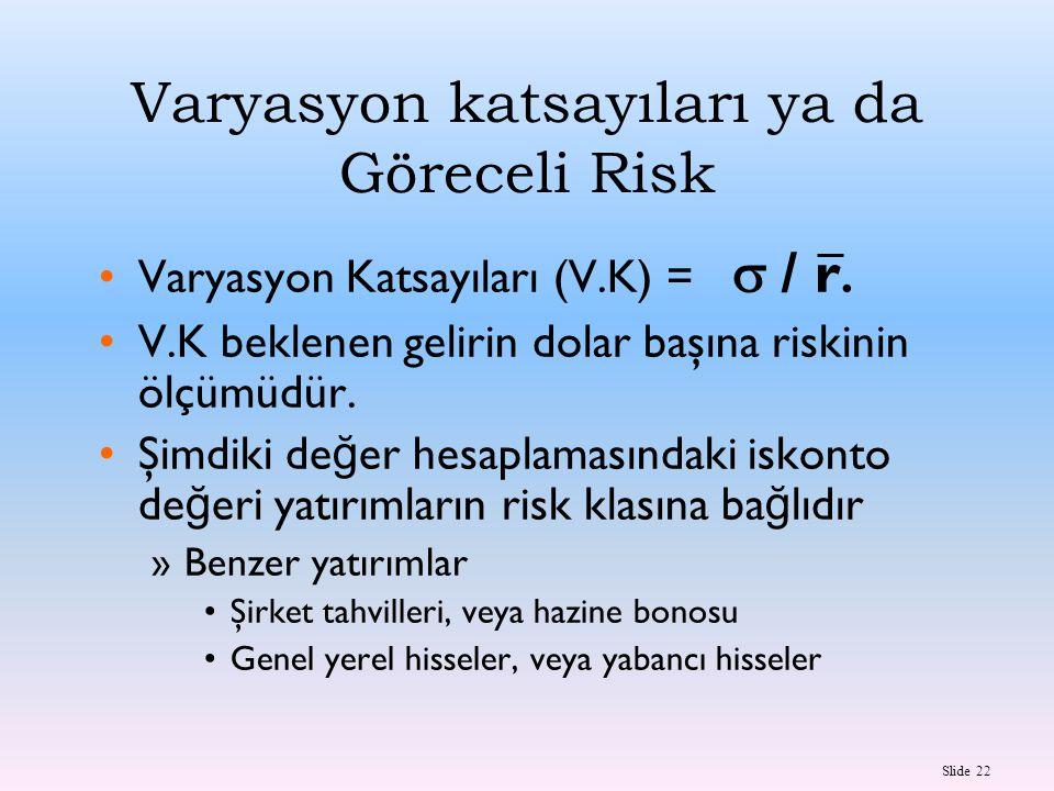 Varyasyon katsayıları ya da Göreceli Risk