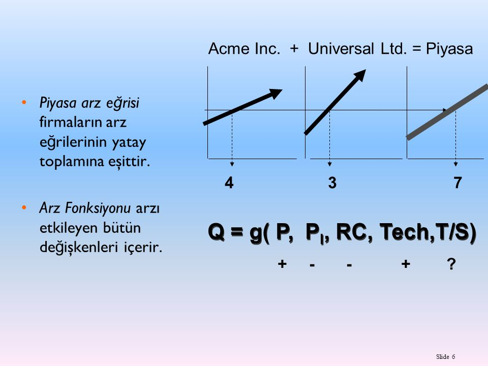 Q = g( P, PI, RC, Tech,T/S) Acme Inc. + Universal Ltd. = Piyasa