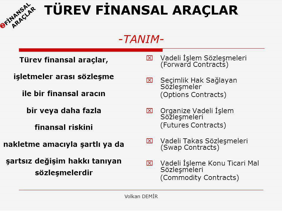 TÜREV FİNANSAL ARAÇLAR -TANIM-