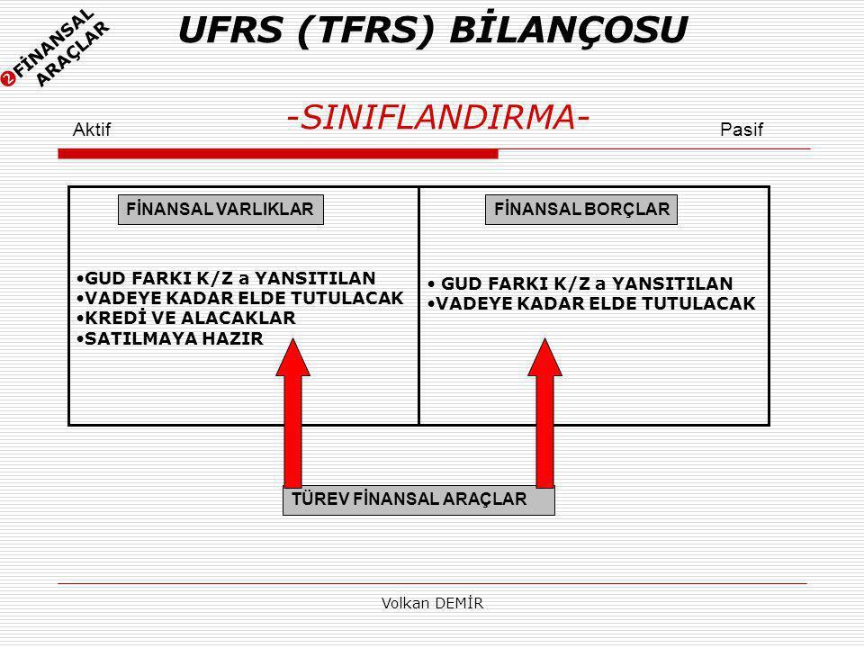 UFRS (TFRS) BİLANÇOSU -SINIFLANDIRMA-