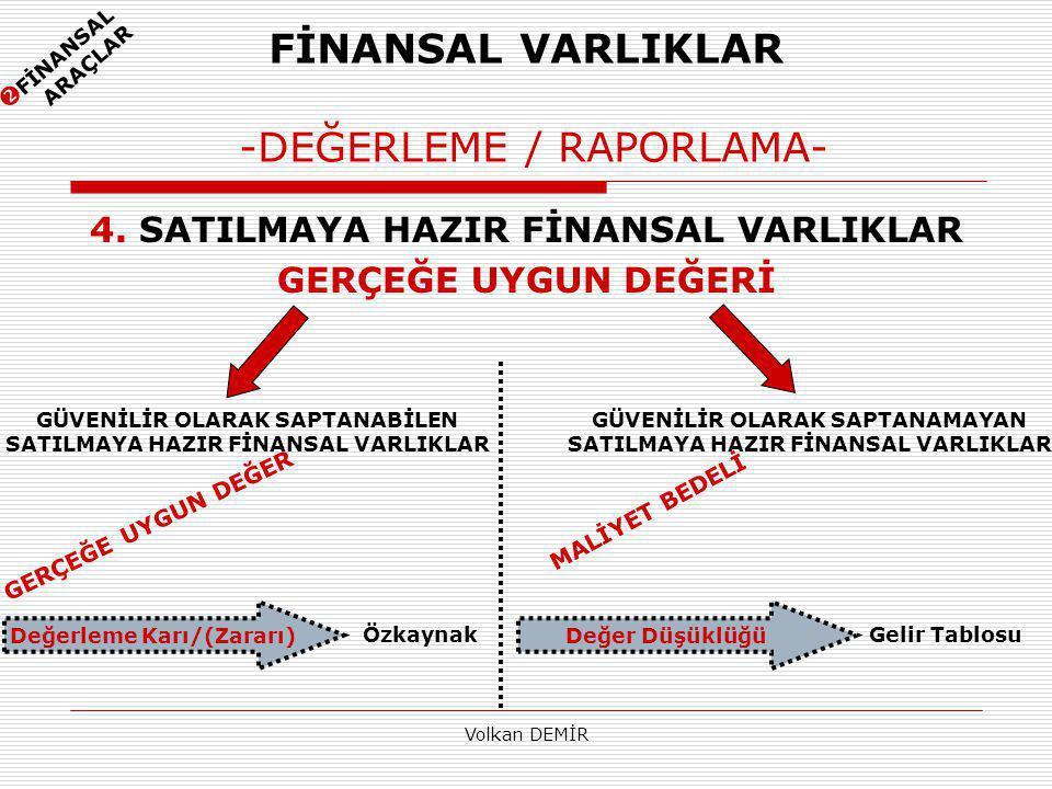 FİNANSAL VARLIKLAR -DEĞERLEME / RAPORLAMA-