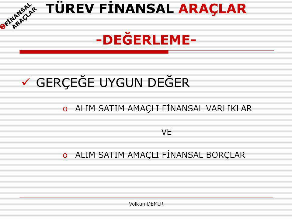 TÜREV FİNANSAL ARAÇLAR -DEĞERLEME-