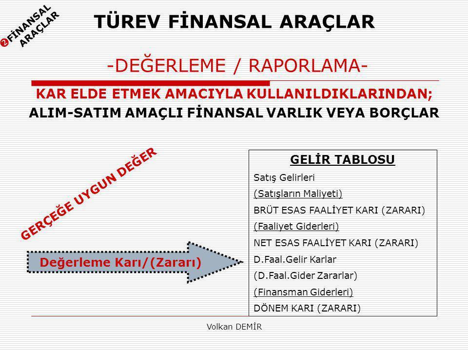 TÜREV FİNANSAL ARAÇLAR -DEĞERLEME / RAPORLAMA-