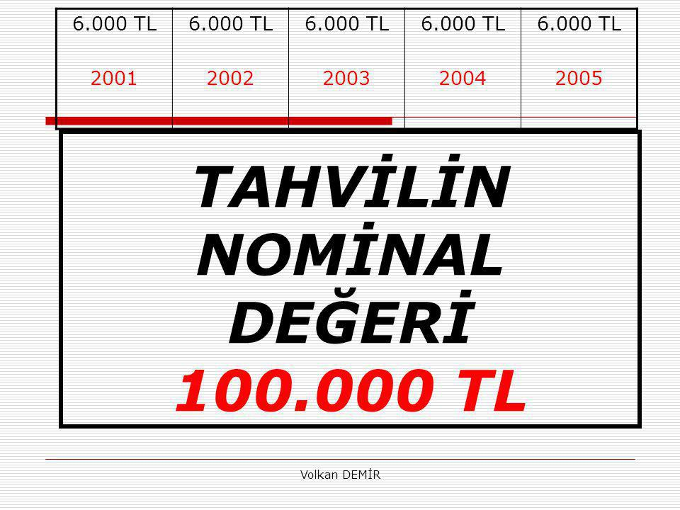 TAHVİLİN NOMİNAL DEĞERİ 100.000 TL