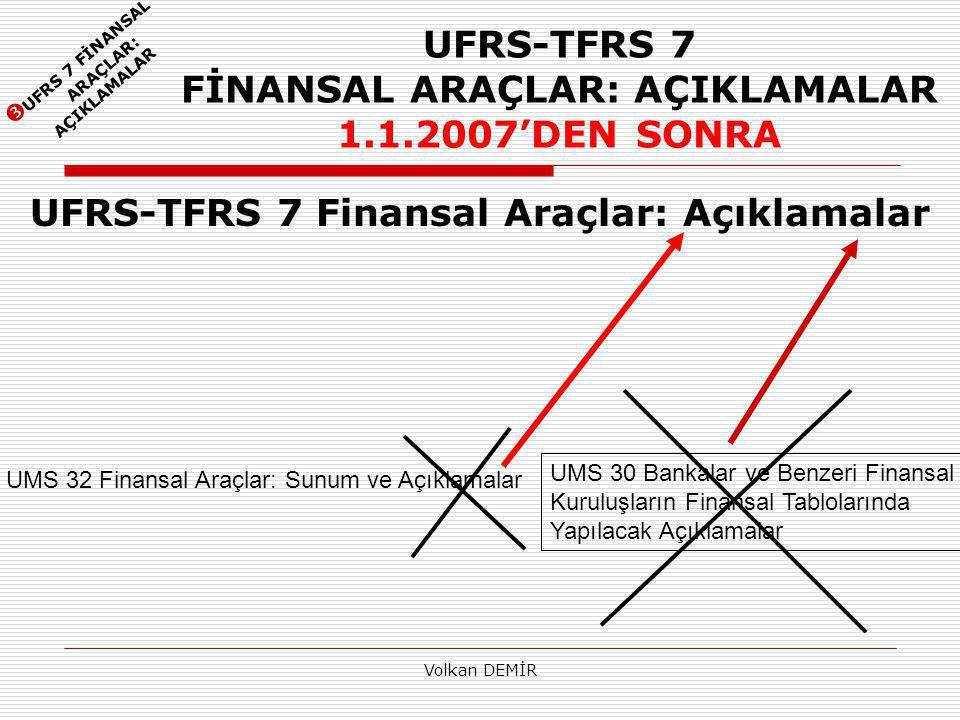UFRS-TFRS 7 FİNANSAL ARAÇLAR: AÇIKLAMALAR 1.1.2007'DEN SONRA