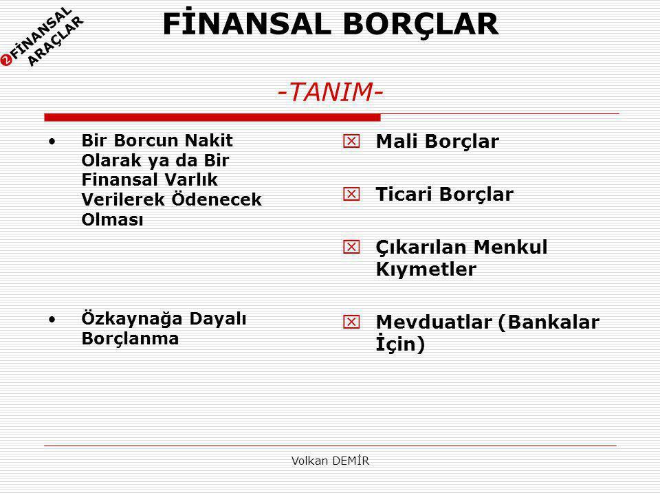 FİNANSAL BORÇLAR -TANIM-