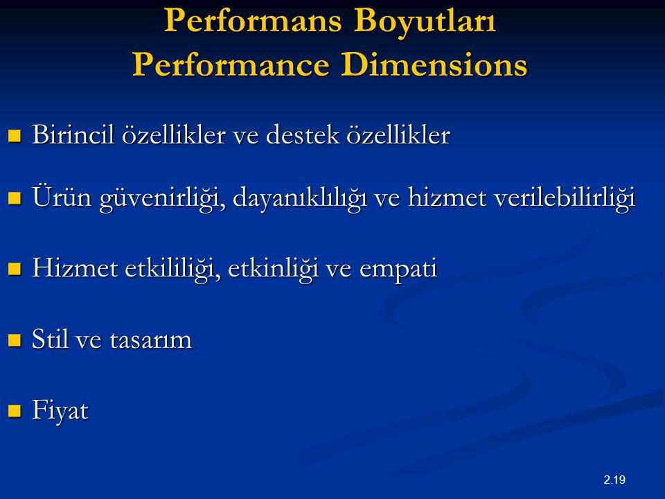 Performans Boyutları Performance Dimensions