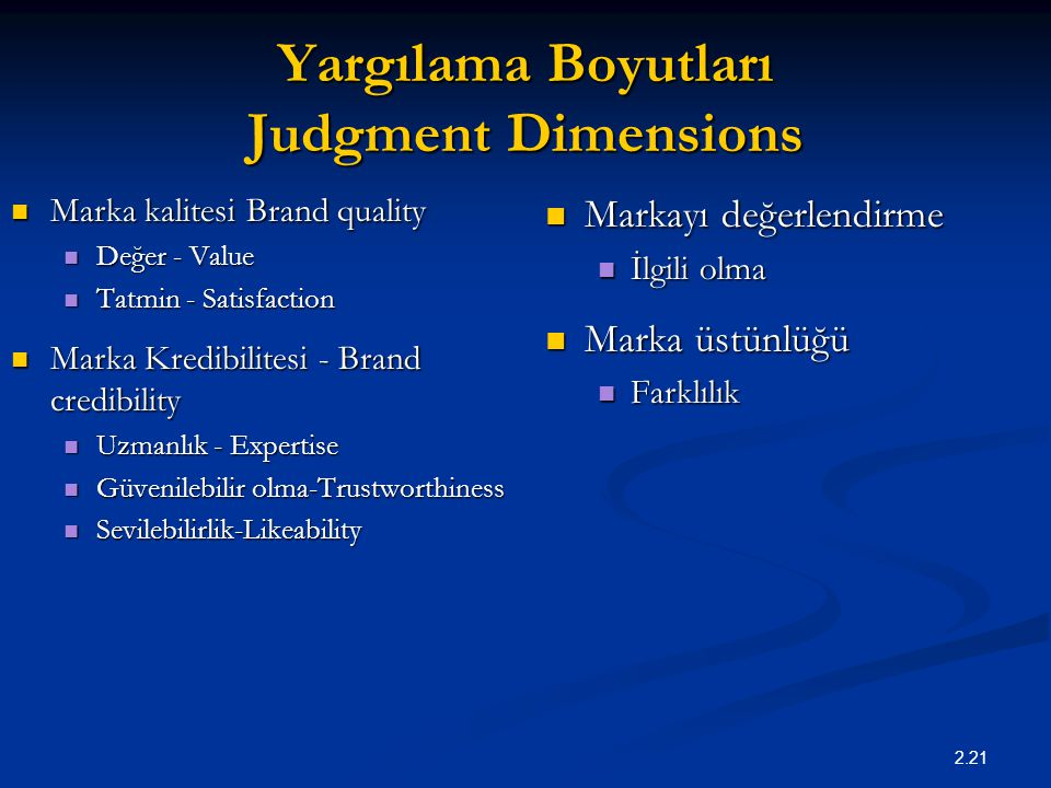 Yargılama Boyutları Judgment Dimensions