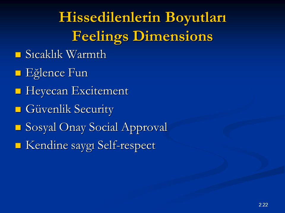 Hissedilenlerin Boyutları Feelings Dimensions