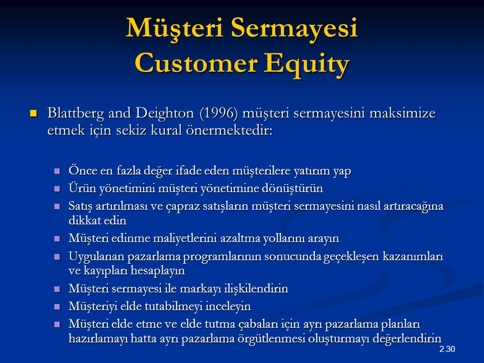 Müşteri Sermayesi Customer Equity
