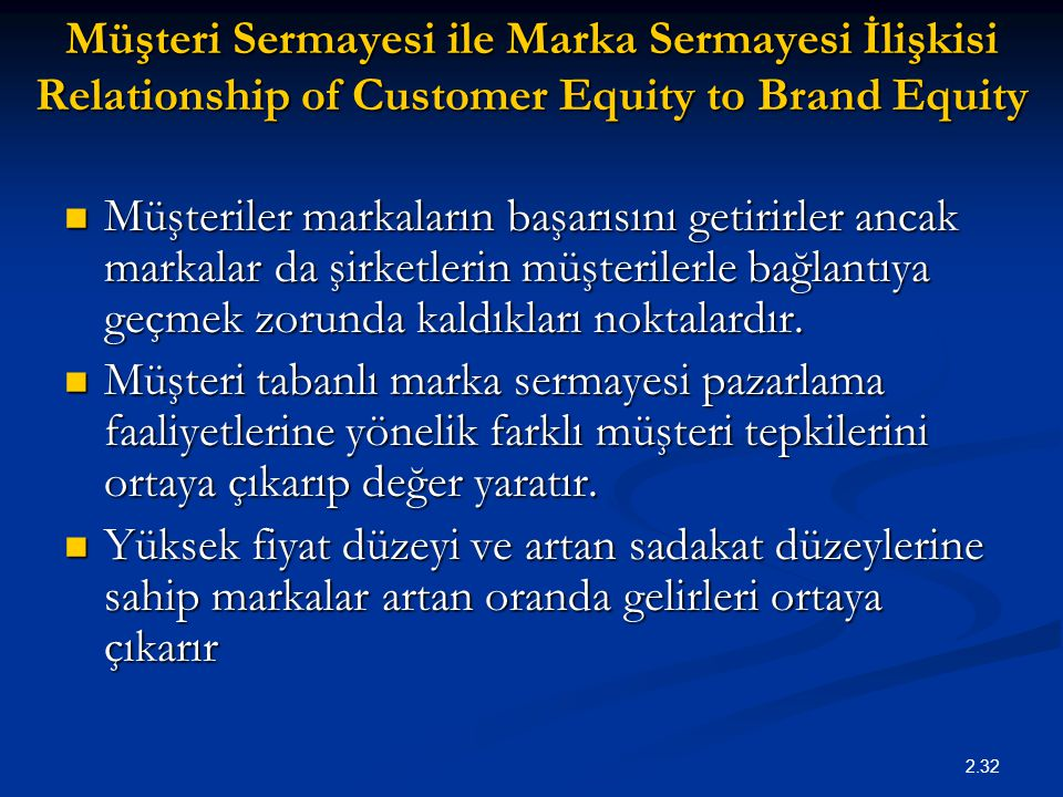 Müşteri Sermayesi ile Marka Sermayesi İlişkisi Relationship of Customer Equity to Brand Equity