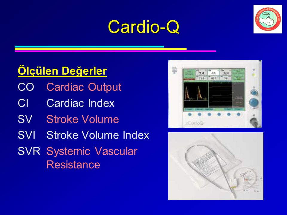 Cardio-Q Ölçülen Değerler CO Cardiac Output CI Cardiac Index
