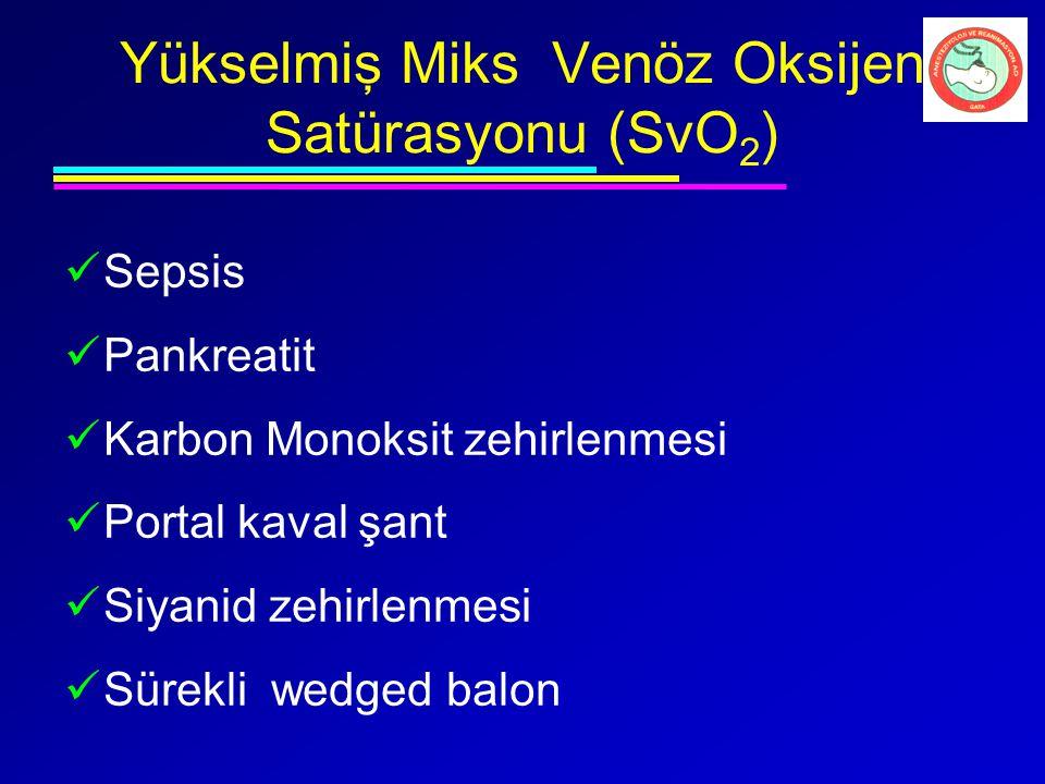 Yükselmiş Miks Venöz Oksijen Satürasyonu (SvO2)