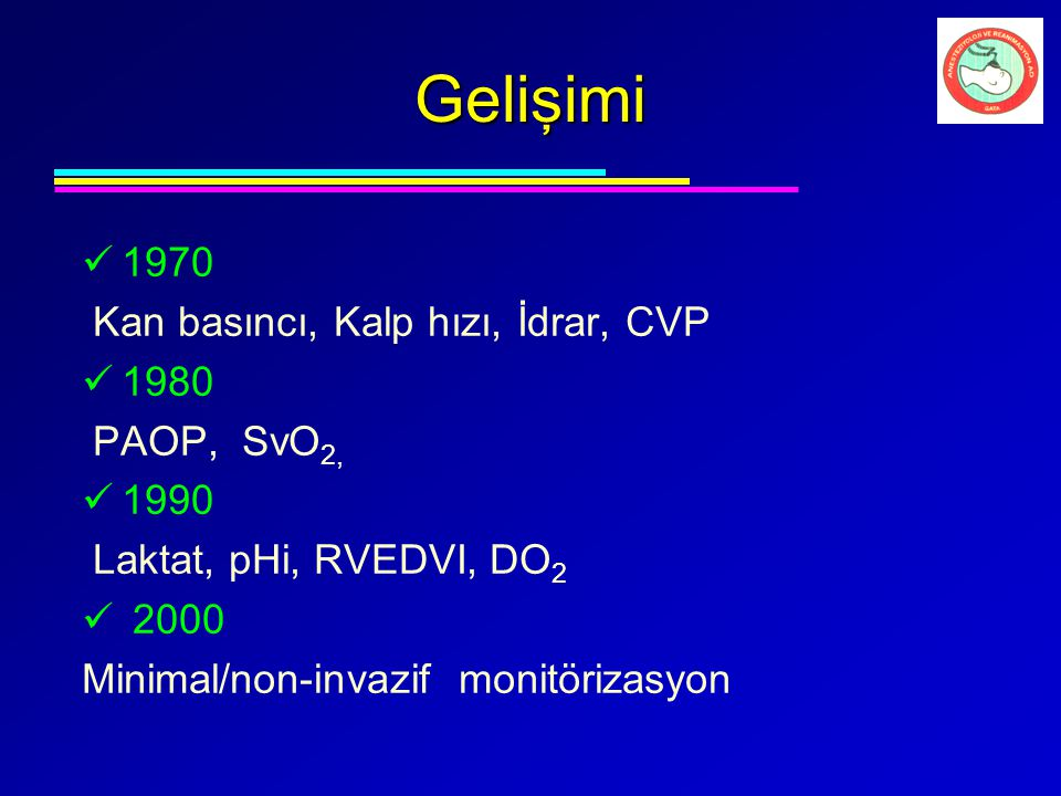 Gelişimi 1970 Kan basıncı, Kalp hızı, İdrar, CVP 1980 PAOP, SvO2, 1990