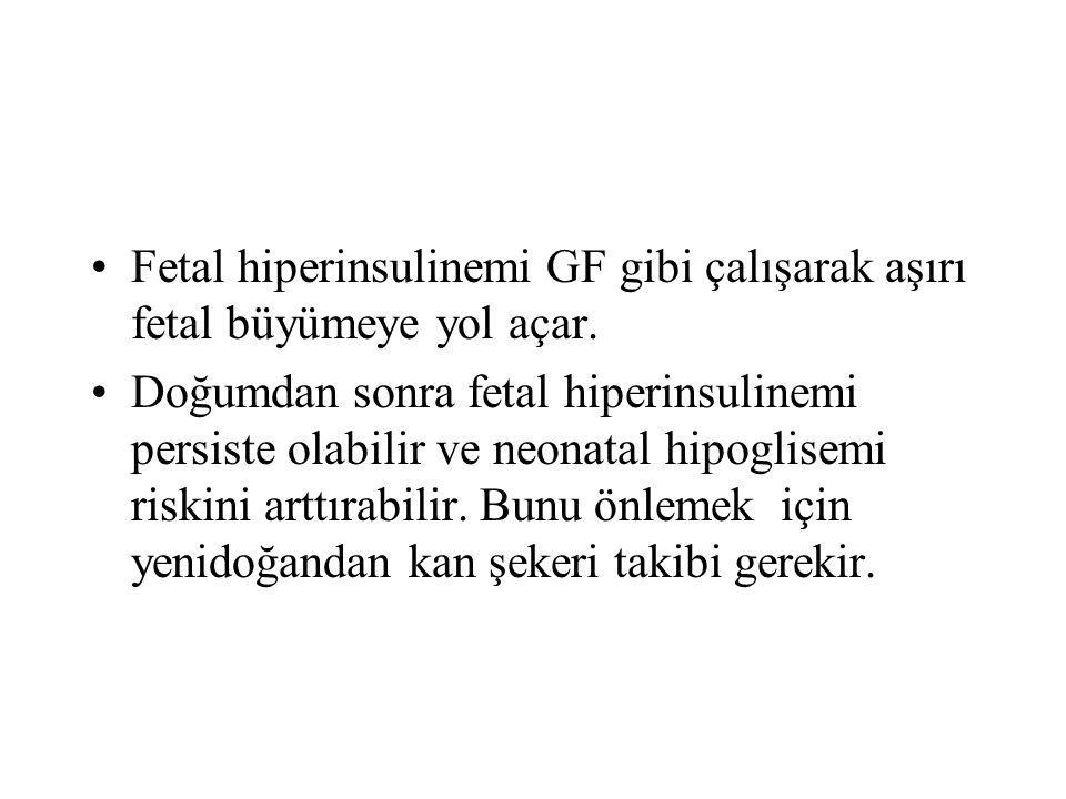 Fetal hiperinsulinemi GF gibi çalışarak aşırı fetal büyümeye yol açar.