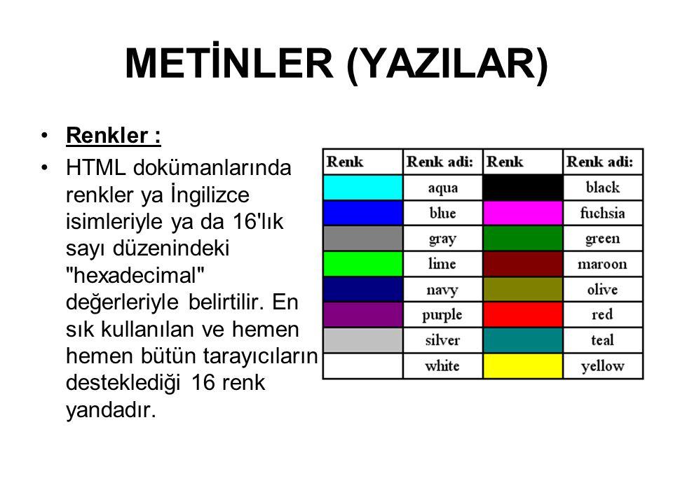 METİNLER (YAZILAR) Renkler :