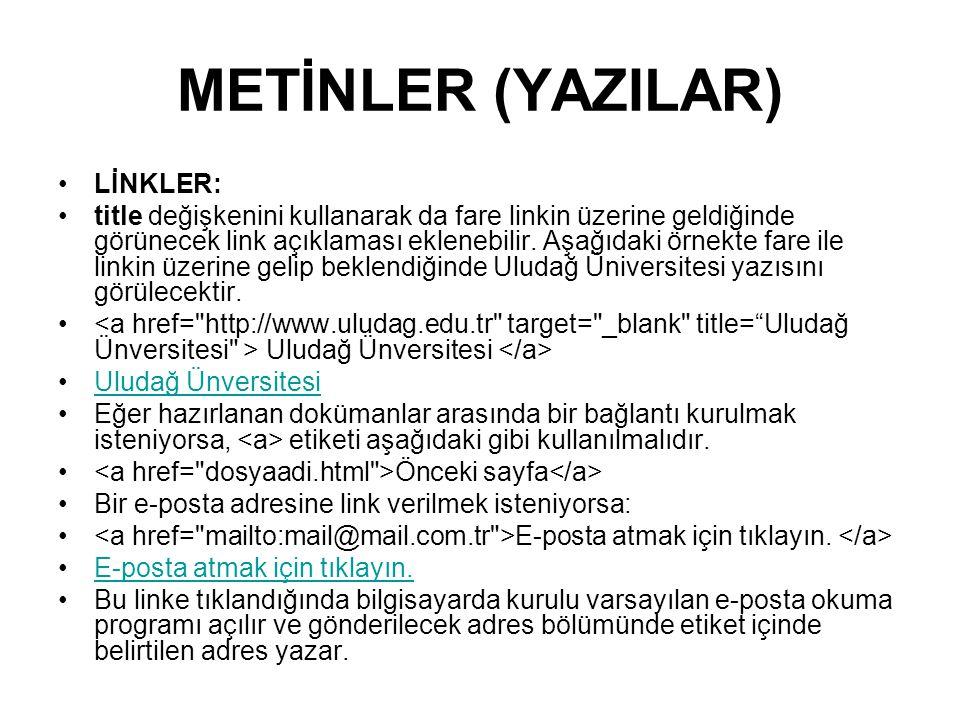 METİNLER (YAZILAR) LİNKLER: