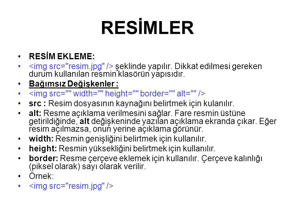 RESİMLER RESİM EKLEME: