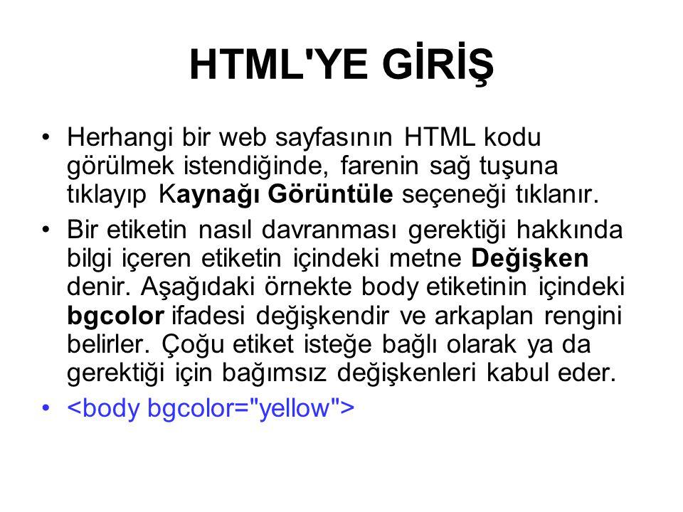 HTML YE GİRİŞ Herhangi bir web sayfasının HTML kodu görülmek istendiğinde, farenin sağ tuşuna tıklayıp Kaynağı Görüntüle seçeneği tıklanır.